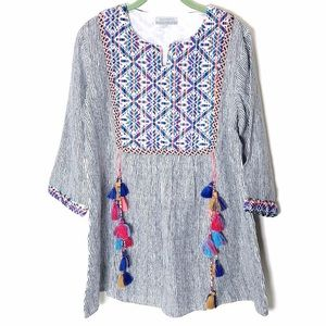World Market Boho embroidered tunic w tassels